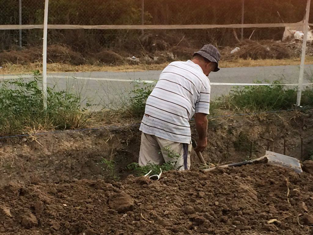 Rod digging the boundary trenches by hand in mid 2017