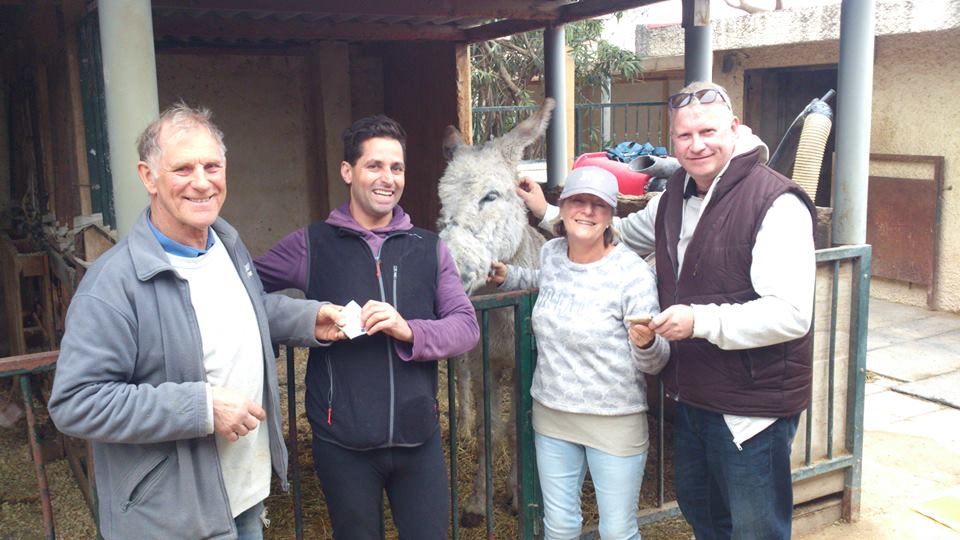 Sue and Rod with Colin Coco Brown and his friend Paul Thacker plus Coco the donkey